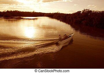 insjö, stötta, tvätta, vakna, solnedgång, skepp, flod båt