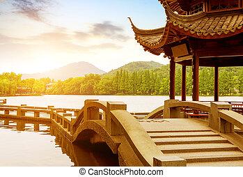 insjö, väst, porslin, landskap, hangzhou