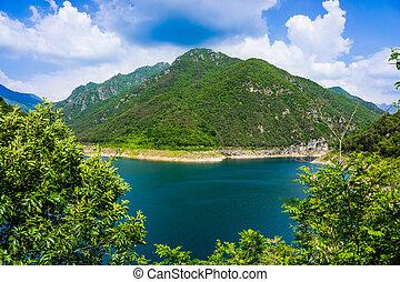 insjö, valvestino, norr, italien, alps., vacker, landskap.
