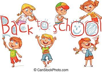 """inskrift, """"back, school"""", stort, skriva, barn"""