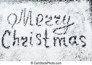 inskrift, bakgrund, snow., munter, vit, helgdag, jul, vinter