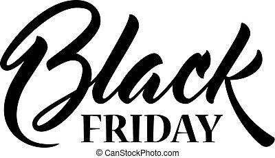 inskrift, fredag, svart