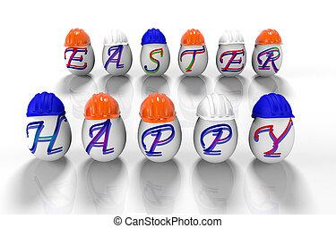inskrift, på, påsk eggar, -, glad påsk, 3, d, render