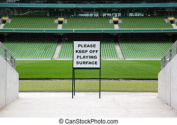 inskrift, ror, mycket, sittplatser, plastisk, varning, hoplagd, stor, stadion, grön, tom