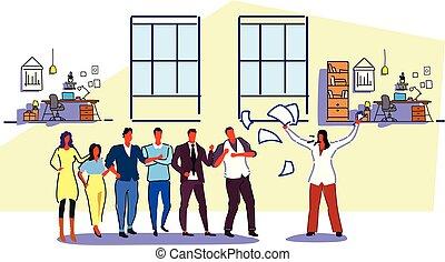 insoddisfatto, schizzo, concetto, cattivo, ufficio, donna,...