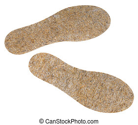 Insoles - A pair of shoe insoles of flax fibers on a white ...