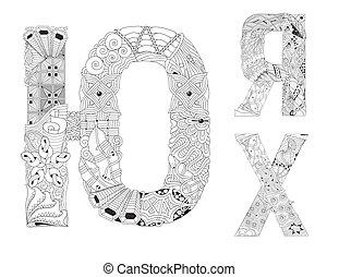 insolito, alfabeto, scarabocchiare, lettere, stile, sfondo bianco, russo