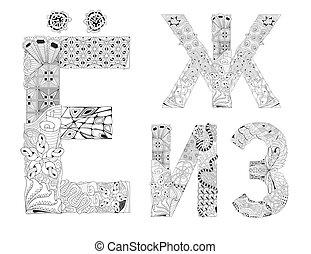insolito, lettere, alfabeto, stile, fondo, scarabocchiare,...