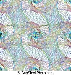 insolito, modello, seamless, disegno spirale, fractal