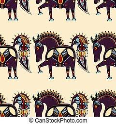 insolito, modello tessuto, tribale, seamless, animale,...