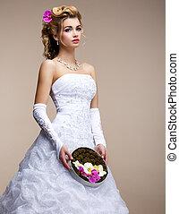 insolito, nuziale, moda, mazzolino, sposa, marriage., fiori bianchi, vestire, biondo