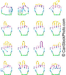 insolito, set, pixelated, icons., mano