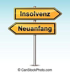 insolvency sign (german translation) - illustration of...