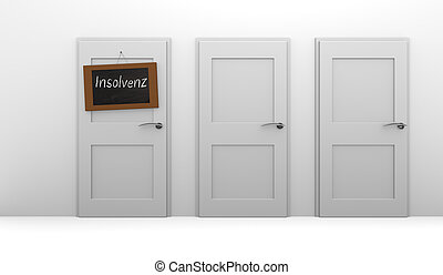 Insolvency - Three closed doors, one door with a blackboard...