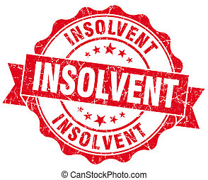 Insolvent red grunge seal isolated on white background