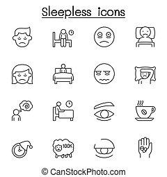 insomne, iconos, delgado, conjunto, estilo, línea