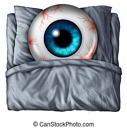 Insomnia and sleeping problems concept as a human eye ball with red veins in a bed with a pillow as a symbol of the health risks of nighttime sleepnessness disorder.