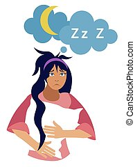 Insomnia. Girl isolated on a white background with a pillow on his hand. In minimalist style Cartoon flat vector