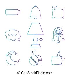 insomnia gradient style collection of icons vector design