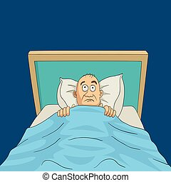 Insomnia - Cartoon illustration of a man on bed with eyes...