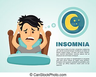 Insomnia infographic.Young man suffers from lack of sleep....