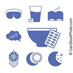 insomnia line and fill style collection of icons vector design