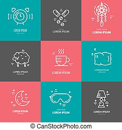 Collection of line vector icons with symbols of sleep problems and insomnia. Healthcare series.