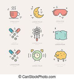 Colorful vector icons with different sleep and insomnia symbols including pillow, alarm clock, sleeping mask.