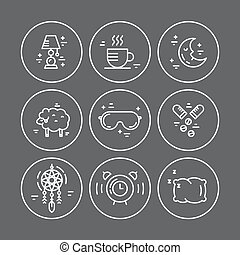 Insomnia Line Icons - Collection of vector line icons with...