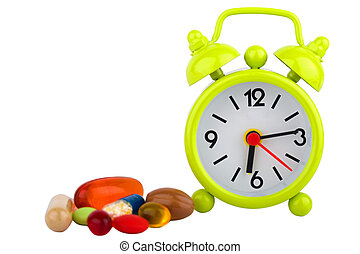Insomnia - Picture of a green clock, colourful pills and ...
