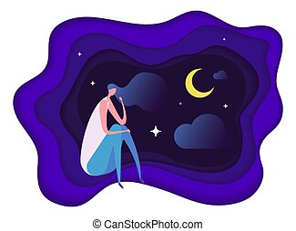 Insomnia problem. Fatidue, sleep disorder concept. Sleepy woman vector character. Problem sleepless, woman no sleep, tired and exhausted illustration