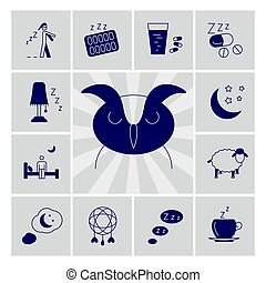 Insomnia problems vector icons set