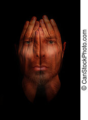 Insomnia sleep disorder concept - hands over open eyes -...