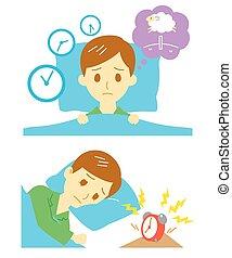 Insomnia, sleeplessness, man, vector file