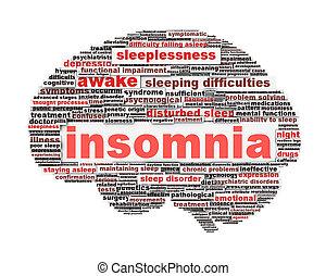Insomnia symbol concept isolated on white background. Sleep...