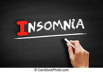 Insomnia text on blackboard
