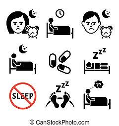 Health icons set - sleep disorder, insomnia vector icons set isolated on white