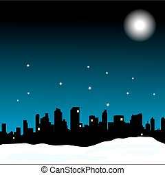 Insomnia vector illustration with city, night sky and moon