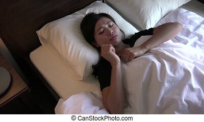 Insomnia With Young Asian Woman Sleeping In Bed At Home -...