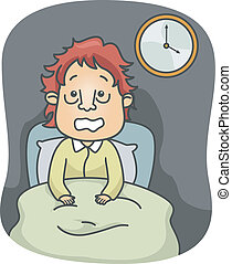 Illustration of a Man with Puffy Eyebags Sitting on His Bed Wide Awake