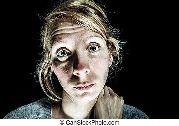 Insomniac Sad and Hopelessness Woman needing Help - Isolated...