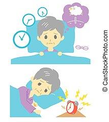 insomnie, femme, vieux, insomnie