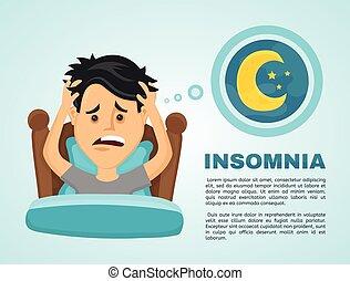 insomnie, infographic., homme, souffre, jeune