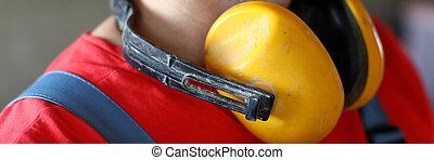 insonoro, amarillo, cuello, cuelgue, auriculares, constructor