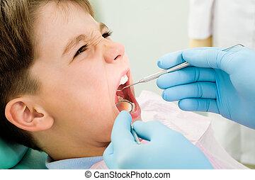 inspección, de, cavidad oral