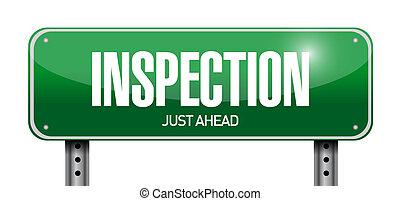 inspección, diseño, camino, ilustración, señal