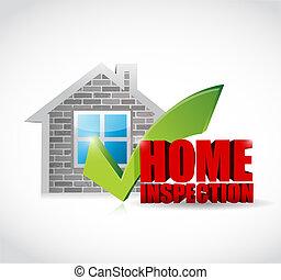 inspección, hogar, diseño, aprobado, ilustración