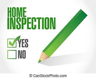 inspección, hogar, lista, cheque, ilustración
