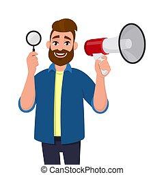inspeccionar, achar, conceito, descoberta, anunciar, busca, megaphone/loudspeaker, jovem, ilustração, style., analisar, vidro, investigação, showing/holding, news., caricatura, homem, barbudo, magnificar, feliz