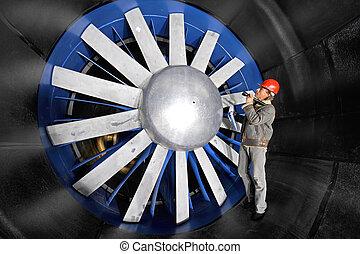 inspeccionar, un, windtunnel